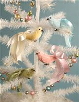 PASTEL VELVET BIRD CLIP ORNAMENTS (SET OF 4)