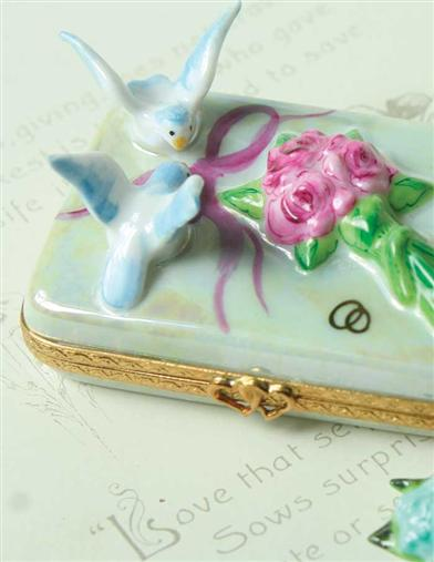 AUTHENTIC LIMOGES LOVEBIRDS