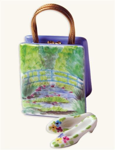 AUTHENTIC LIMOGES WATERLILIES BAG & KITTEN HEELS