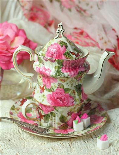 SPRING GARDEN ROSES TEA FOR ONE SET