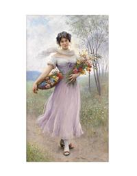 GIRL IN THE LILAC DRESS FRAMED PRINT (GOLD)