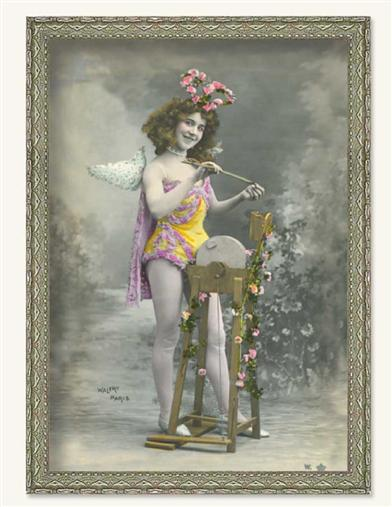 CUPID SHARPENS THE ARROW FRAMED PRINT