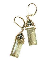 GOLD PYRITE IN QUARTZ CRYSTAL EARRINGS