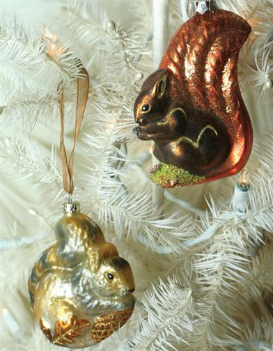 PAIR OF SQUIRREL ORNAMENTS
