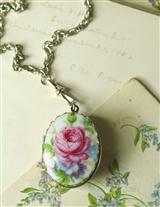 FLORAL PORCELAIN LOCKET
