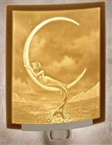 MERMAID ON A FINGERNAIL MOON LITHOPHANE NIGHTLIGHT
