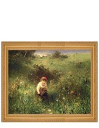 A YOUNG GIRL IN A FIELD FRAMED PRINT (GOLD)