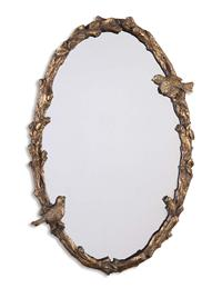 WARBLER OF THE WOODS FAUX BOIS MIRROR (OVAL)