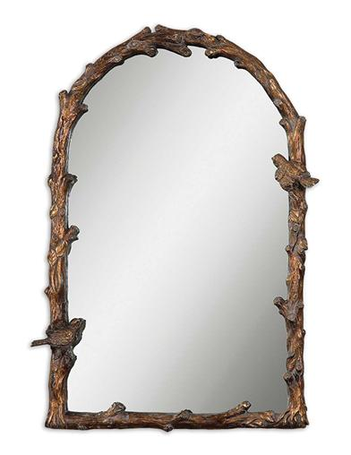 WARBLER OF THE WOODS FAUX BOIS MIRROR (ARCH)