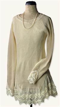 LACE FLOUNCE SWEATER