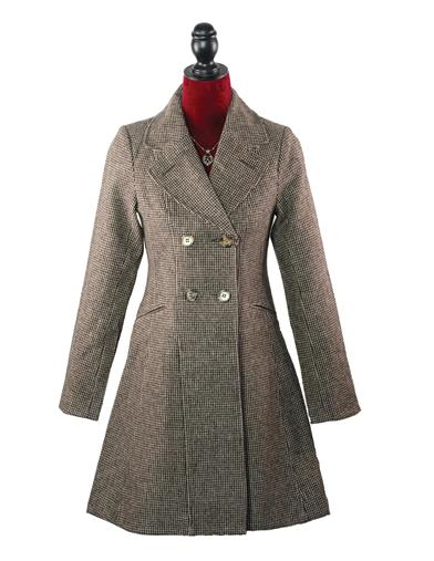 1930s Style Coats Houndstooth Corset Coat $99.95 AT vintagedancer.com