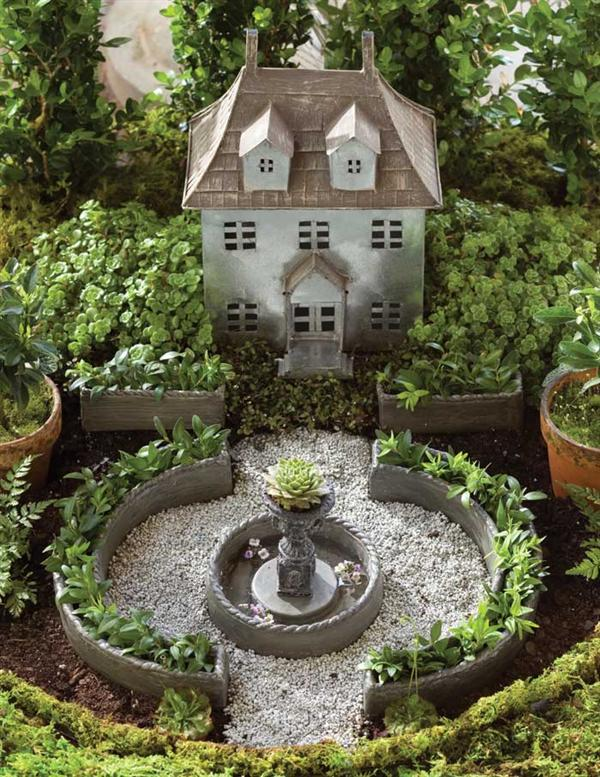 Miniature french chateau fairy garden kit for Garden accessories sale