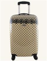 Cream With Black Lace Rolling Carry On