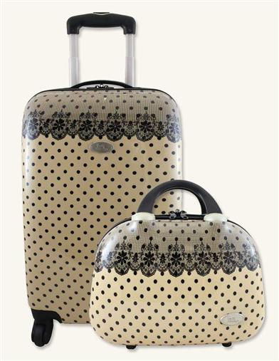 CREAM WITH BLACK LACE LUGGAGE SET