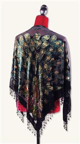 BEADED VELVET BURNOUT PEACOCK SHAWL
