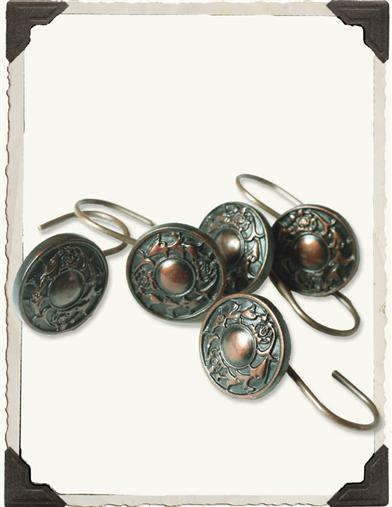 BRONZE MEDALLION SHOWER  CURTAIN HOOKS