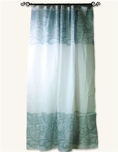 WHITE SHOWER CURTAIN WITH GRAY LACE