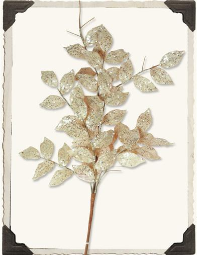 GLITTERED LAUREL LEAF SPRAY
