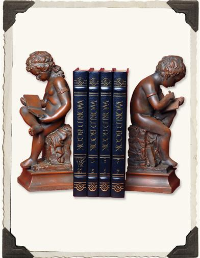 YOUNG BOY AND GIRL READING BOOKENDS