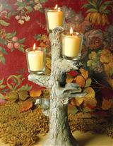 THREE LARKS FAUX BOIS CANDLESTICK