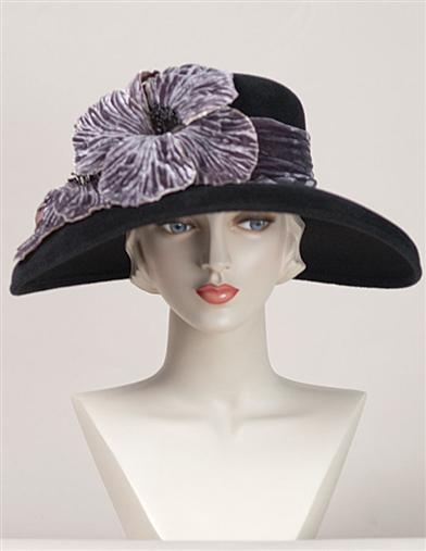Edwardian Hats, Titanic Hats, Tea Party Hats Louise Green Midnight Poppy Hat $399.95 AT vintagedancer.com
