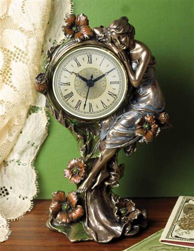 HOUR'S EMBRACE ART NOUVEAU CLOCK