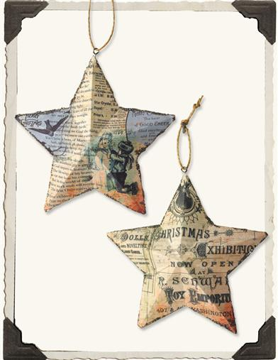 OLD NEWSPRINT STARS (PAIR)