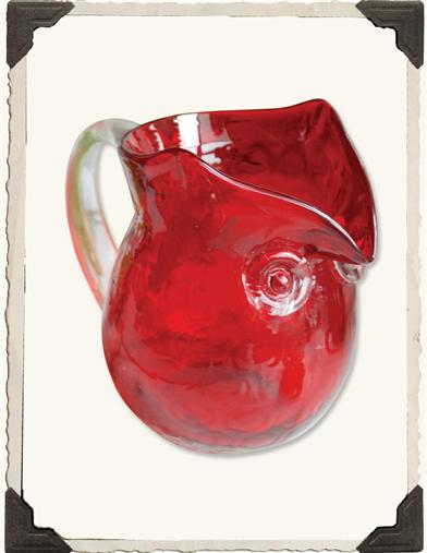 BLOWN GLASS HOOT OWL PITCHER (RED)