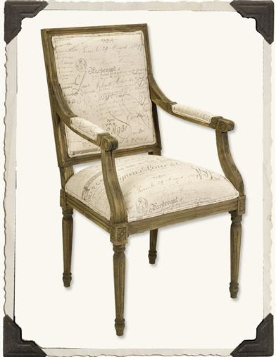 FRENCH SCRIPT ARM CHAIR