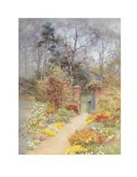 A WALLED GARDEN IN SPRINGTIME