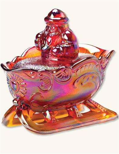 Iridescent Carnival Glass Candy Dish