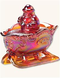 OPALESCENT CARNIVAL GLASS CANDY DISH