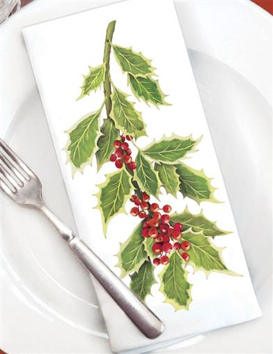 HOLLY SPRIG NAPKINS (SET OF 6)