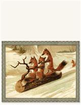 SLEDDING FOXES (SILVER FRAME)
