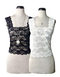 SILKY LACE CAMISOLES BLACK & WHITE SET