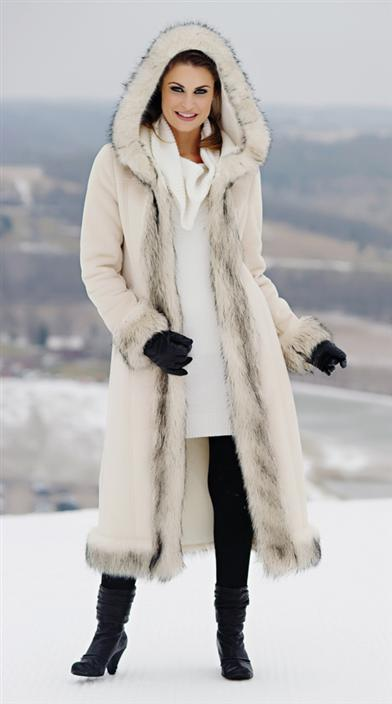 IVORY SUEDE FAUX FUR COAT