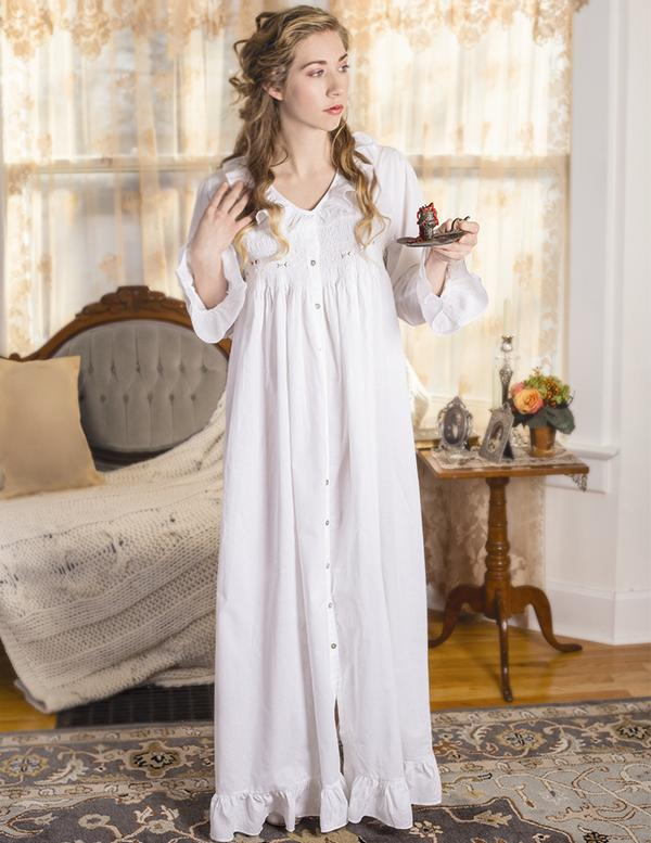 Beautiful Antique Victorian Doll Dress/Gown Robe Cotton