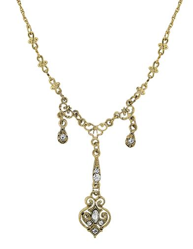 Edwardian Jewelry | Downton Abbey Earrings, Necklaces, Rings Downton Abbey Crystal Drops Gold Necklace $34.95 AT vintagedancer.com