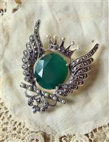FAITH, FORTUNE, & WISDOM MOSS AGATE PENDANT/BROOCH