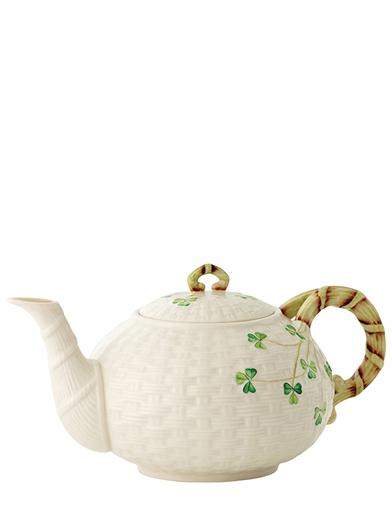 Belleek Basketweave Parian China Teapot