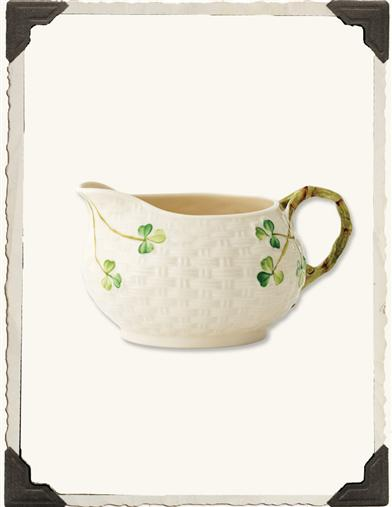 BELLEEK BASKETWEAVE PARIAN CHINA CREAMER
