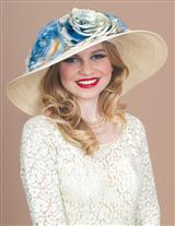LOUISE GREEN DENIM ROSE HAT