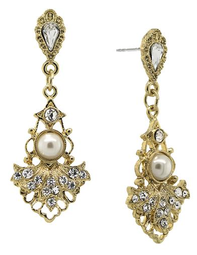 Vintage Style Jewelry, Retro Jewelry Downton Abbey Elegant Crystal Pearl Drop Earrings $34.95 AT vintagedancer.com