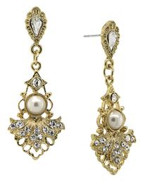 DOWNTON ABBEY ELEGANT CRYSTAL PEARL DROP EARRINGS
