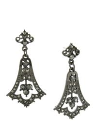 DOWNTON ABBEY HEMATITE CRYSTAL BELL DROP EARRINGS