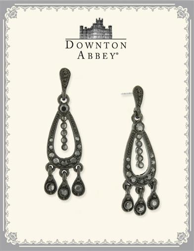 DOWNTON ABBEY JET BLACK CHANDELIER EARRINGS