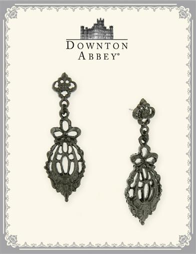 DOWNTON ABBEY JET BOW DROP FILIGREE EARRINGS