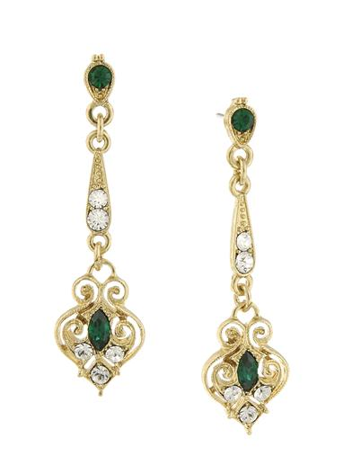 1920s Jewelry Styles History Downton Abbey Gold Filigree Emerald Drop Earrings $35.00 AT vintagedancer.com