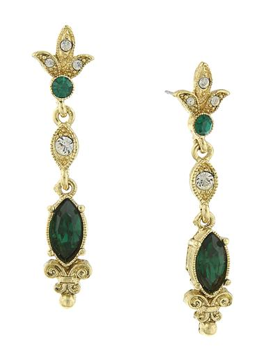 DOWNTON ABBEY EMERALD CRYSTAL DECO EARRINGS