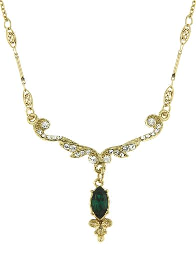 Edwardian Jewelry | Downton Abbey Earrings, Necklaces, Rings Downton Abbey Emerald Crystal Gold Scroll Necklace $34.95 AT vintagedancer.com